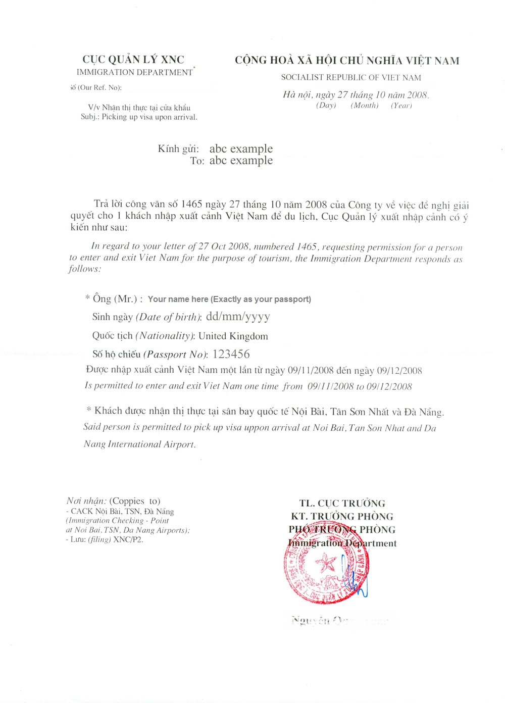 How to apply for a vietnam visa on arrival visa process get the vietnamese visa pre approval letter altavistaventures Choice Image